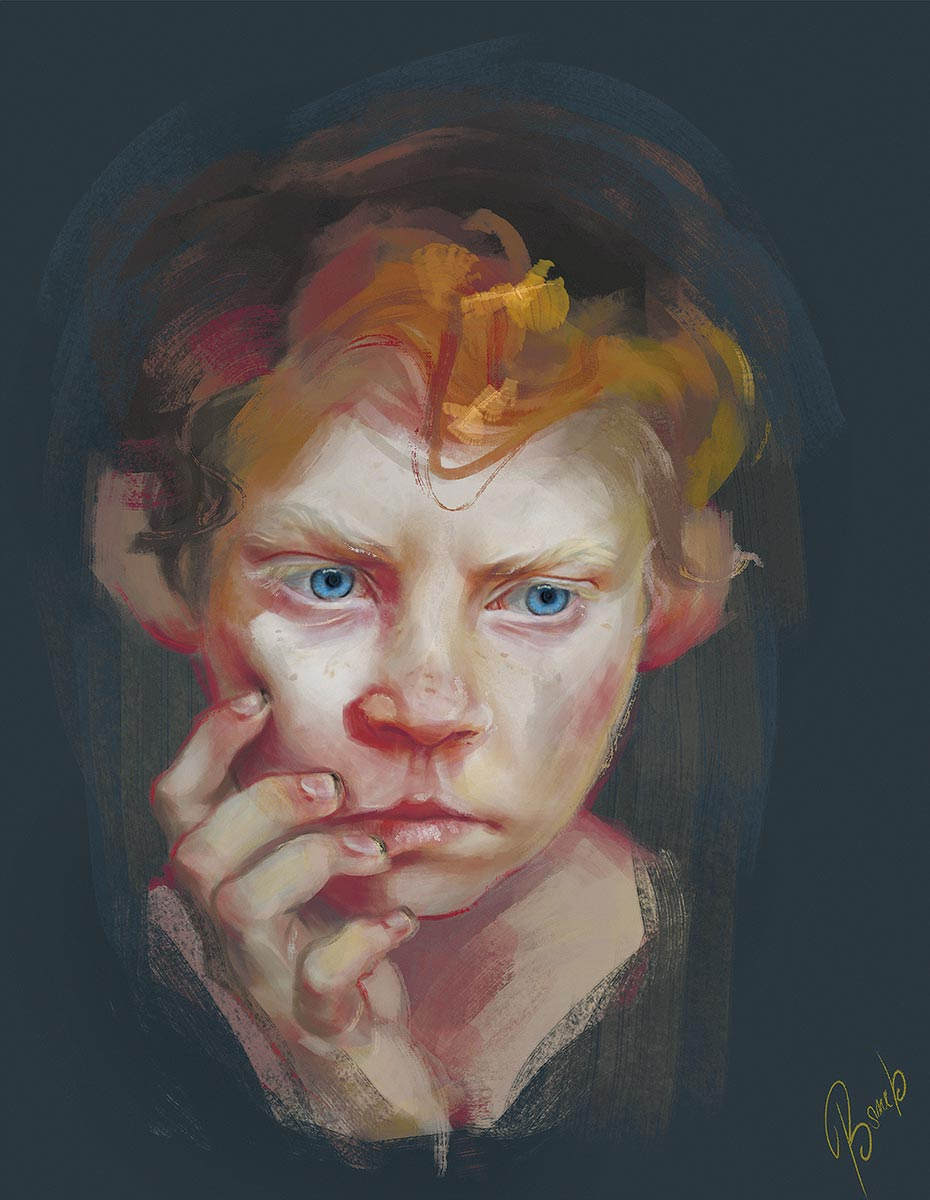 © Sylwia Bomba | Red | Portrait for 3D Total publisher. | It presents a musing peasant child. | 2015