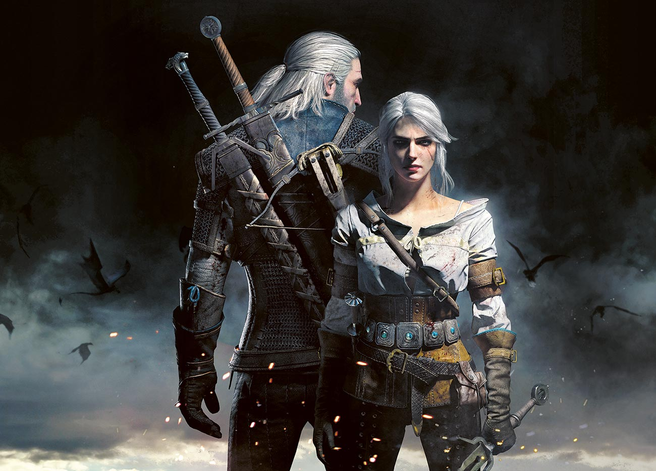"© Bartłomiej Gaweł / CD Projekt RED | Witcher and Ciri | Commercial illustration for game ""The Witcher 3: Wild Hunt"". 