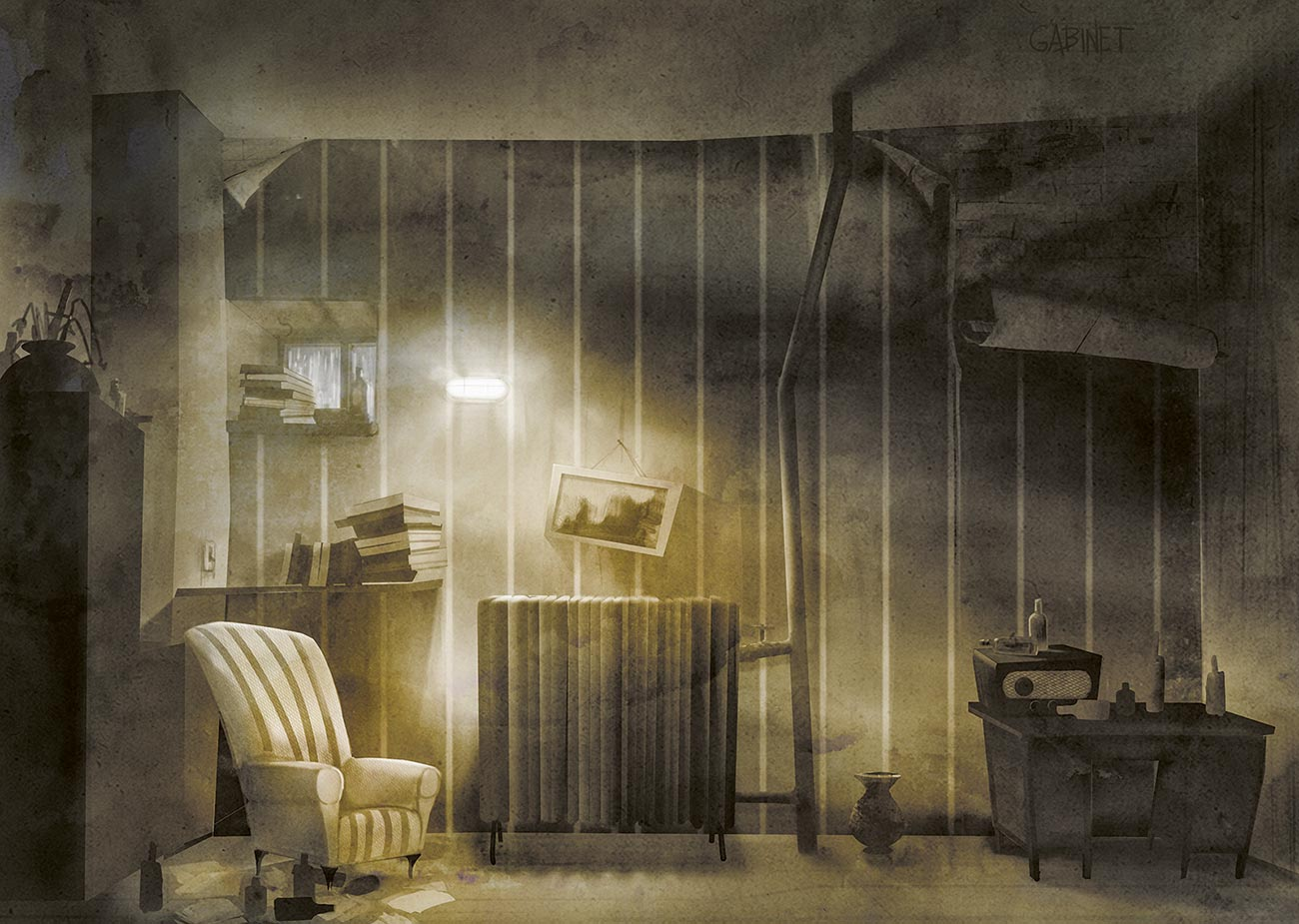"© Przemek Kotyński | Cabinet | Interior design for animated movie, ""Bloody Sunday"". Orka Studio production. 