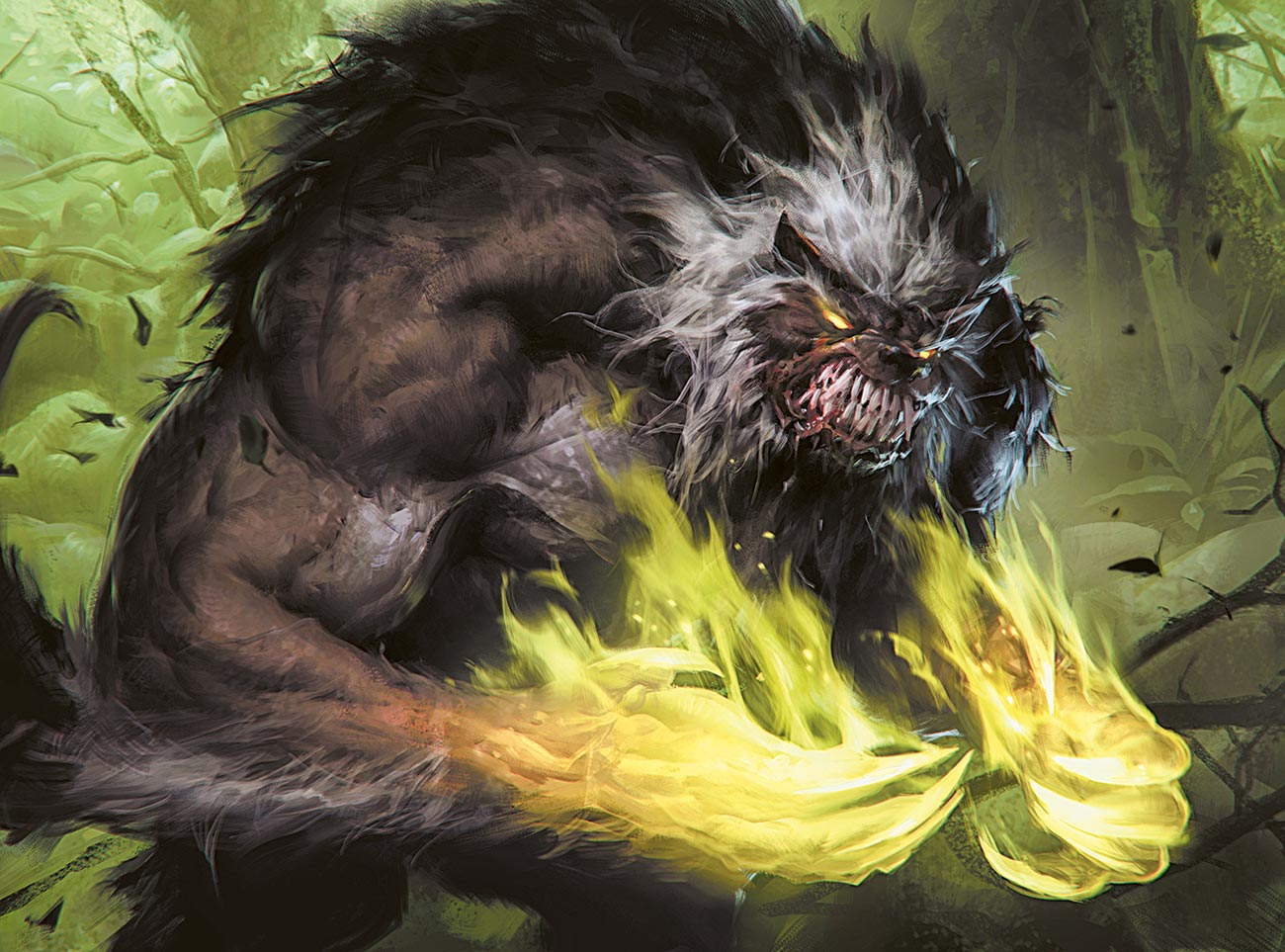 "© Sławomir Maniak / Wizards of the Coast | Werewolf of Ancient Hunger | ""I like this work since it brings back memories from the game Werewolf: The Apocalypse"". 