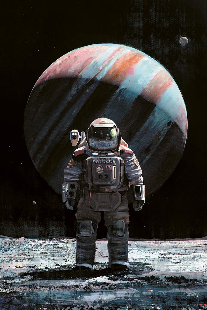 "© Maciej Rębisz | Cosmonaut on Ganymede | Grafika powstała jako koncept do projektu ""Space That Never Was"". 