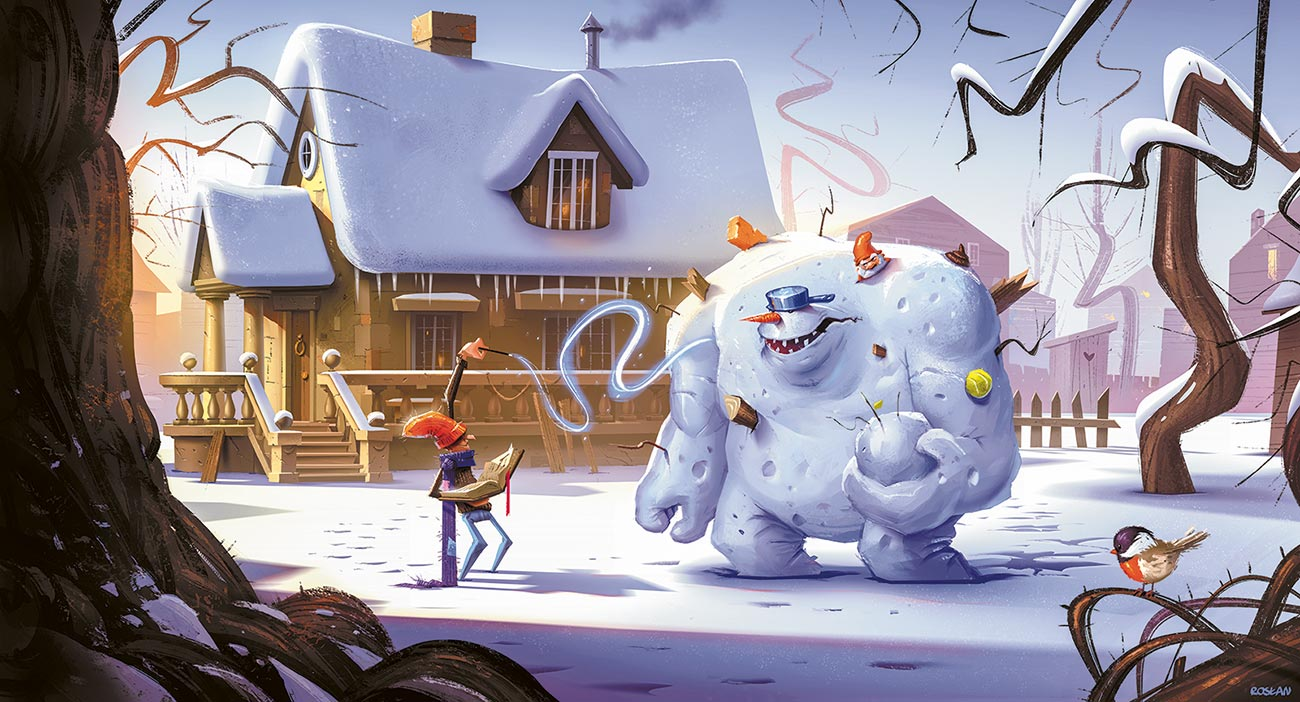 © Krzysztof Rosłan | Ultimate snowball fighter | Illustration made for the author's purpose. It is an attempt to capture winter air and lightning. | 2017