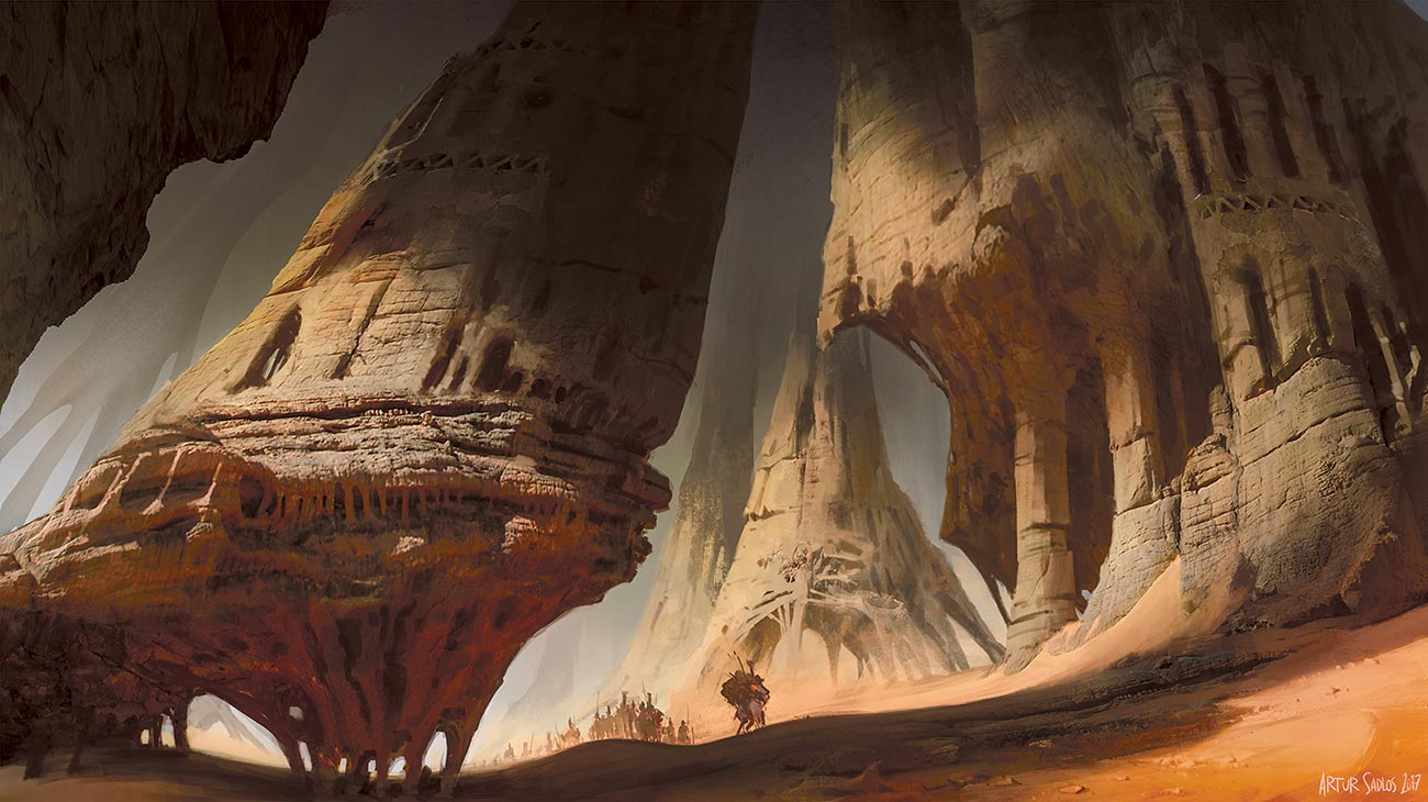 © Artur Sadłos / Conceptverse | Caravan | Another Mooeti world illustration. It presents a trade mission going through dangerous and mysterious desert landscape of the planet. | 2016