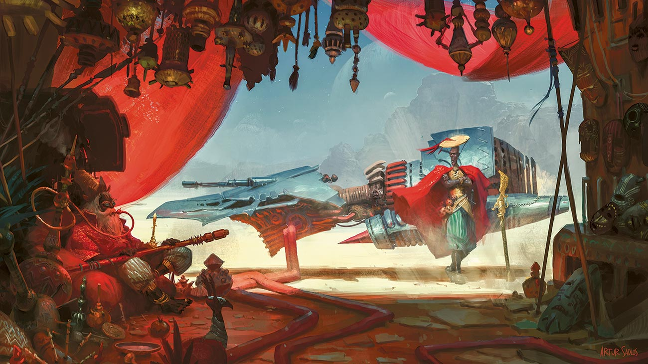 © Artur Sadłos / Conceptverse | Refuel | Illustration from the author's designed world of Mooeti inspired by works of orientalist painters. | 2016