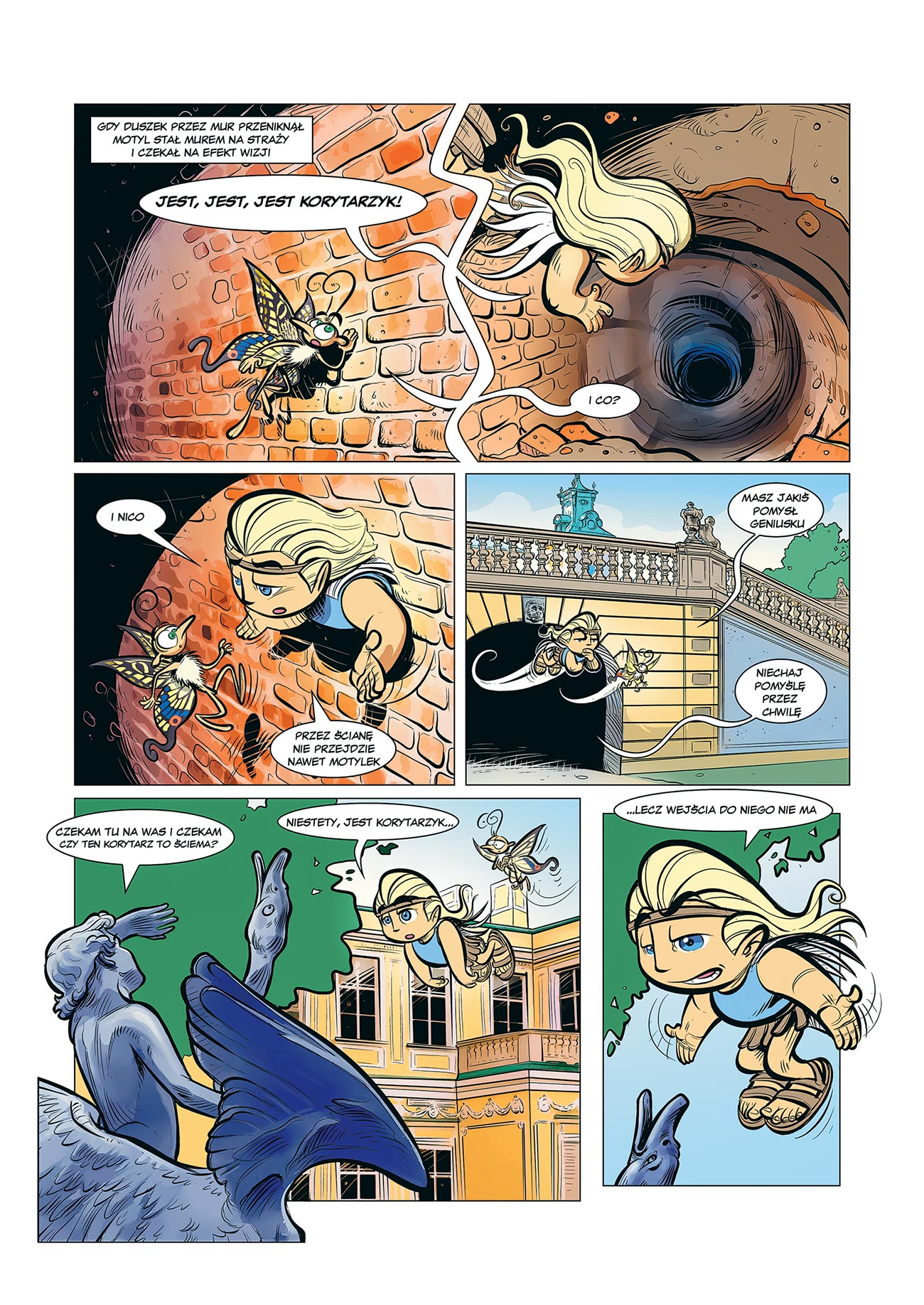 © Sławomir Kiełbus | Między dniem a snem w Wilanowie | Page from the first part of the comic book depicting the history of the Wilanów palace, where the characters are tracking a gang of thieves targeting John III Sobieski's memorabilia. | Story: Ewa Karska. | Published by MAAR Marzena J. Bachan, 2010. | 2010