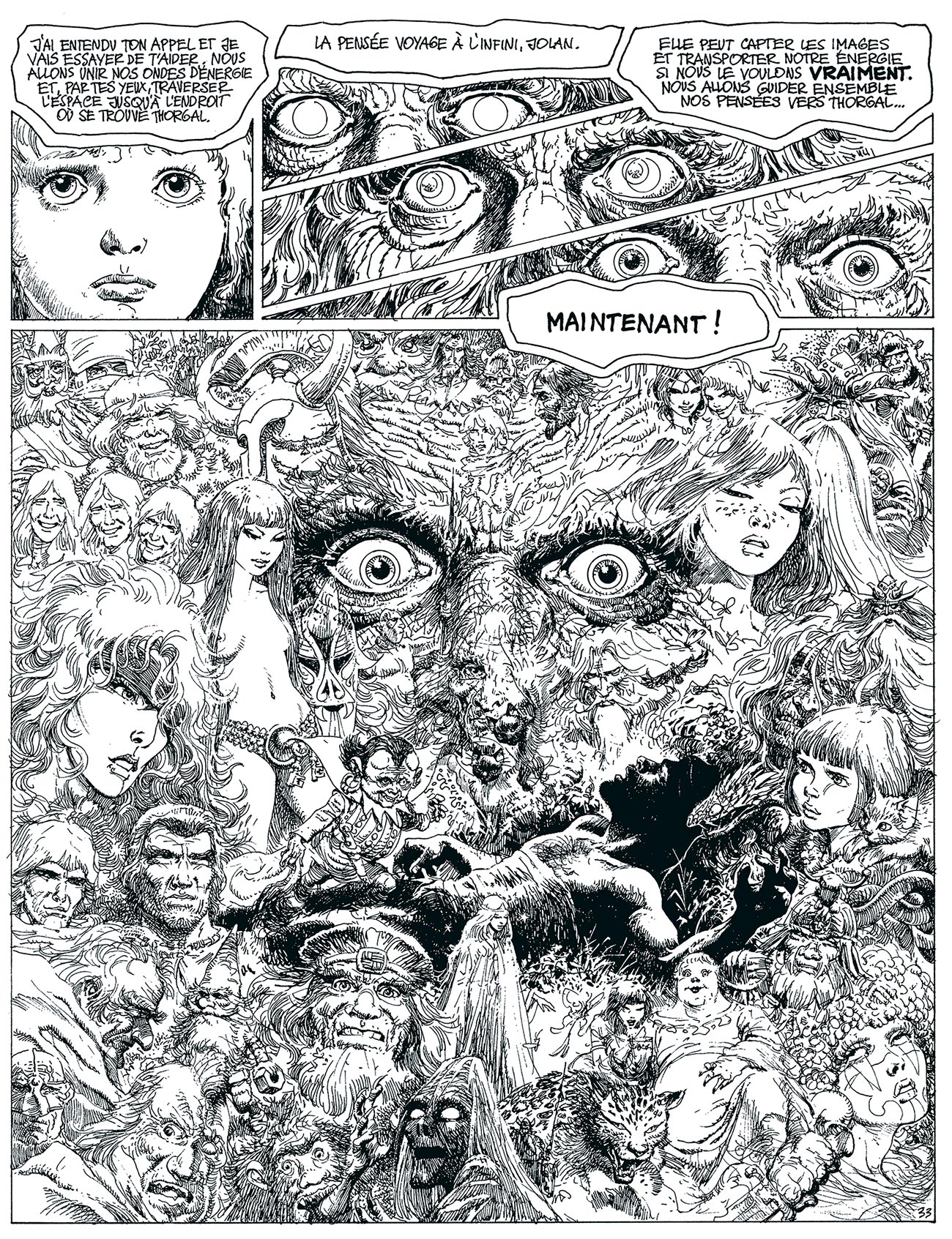 "© Grzegorz Rosiński | Thorgal. Oczy Tanatloca/Les Yeux de Tanatloc | Page from the eleventh volume of the ""Thorgal"" series. 
