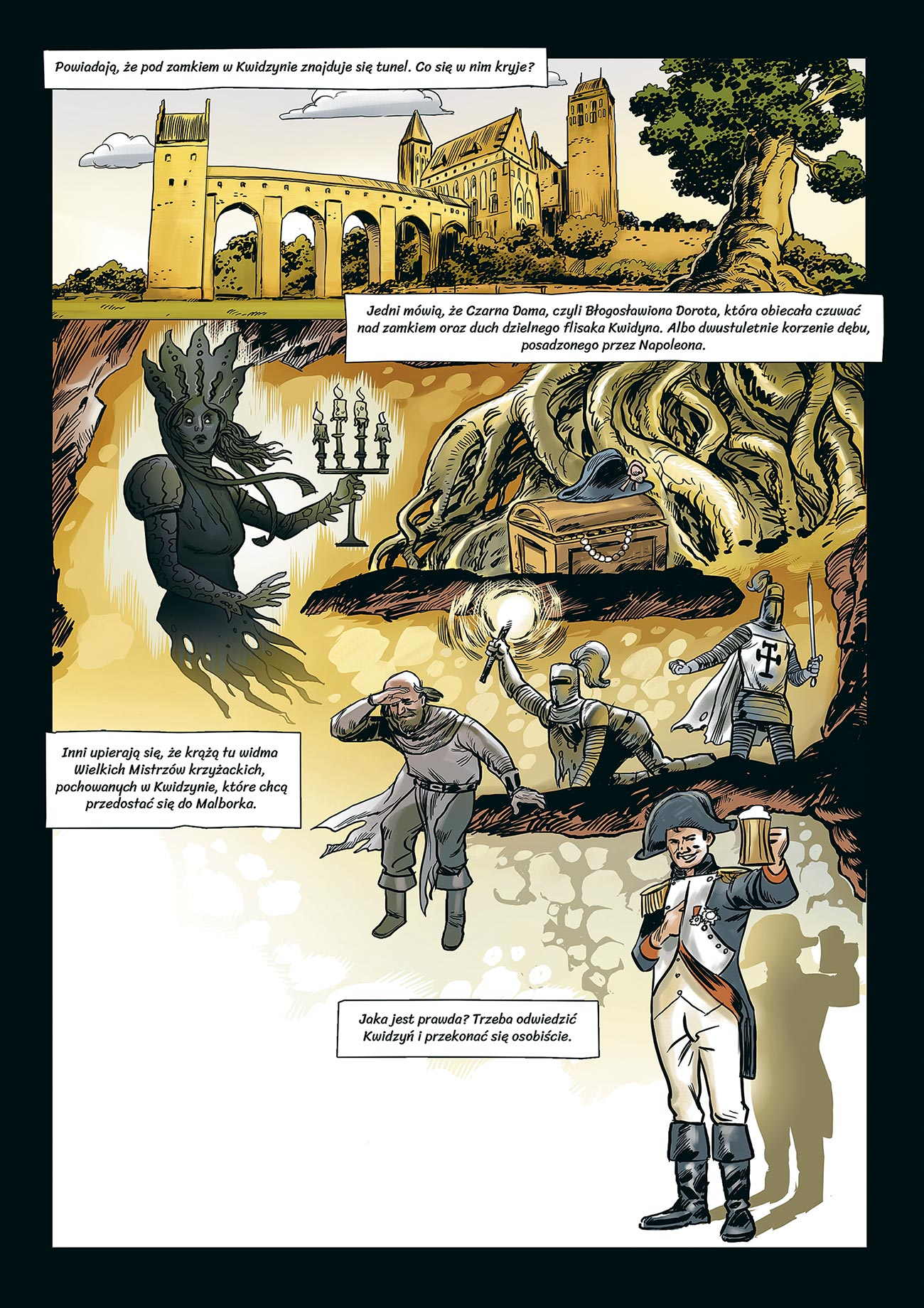 "© Rafał Szłapa | Tunel w Kwidzynie | Page from the comic advertising the Special beer as a part of the ""Legenda Północy"" campaign. 