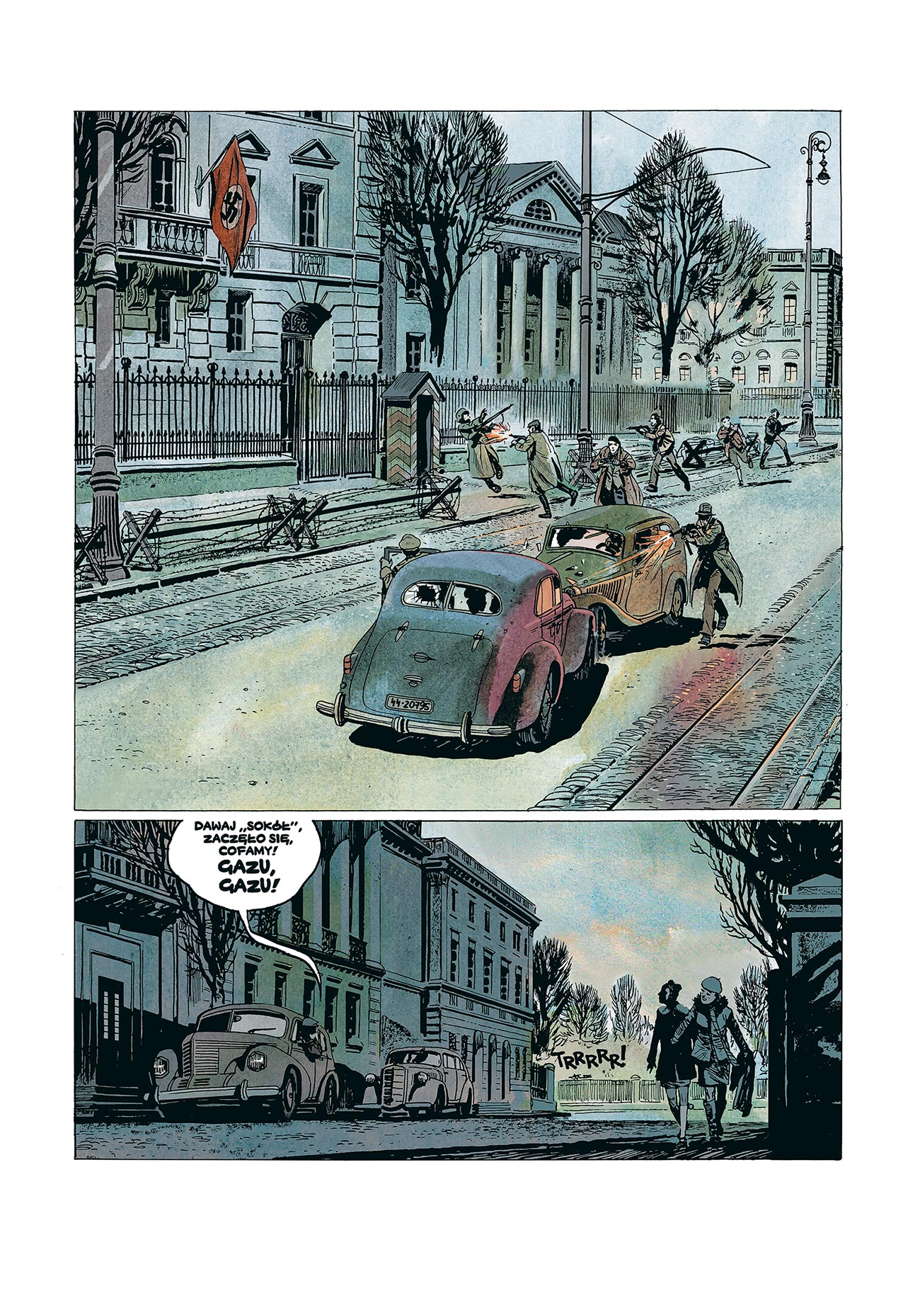 © Krzysztof Wyrzykowski | Zamach na Kutscherę | Page from the historic comic book telling the story about an operation of the Polish Home Army held on 1 February 1944. | Story: Sławomir Zajączkowski. | Published by: Institute of National Remembrance, Division in Warsaw, 2013. | 2012